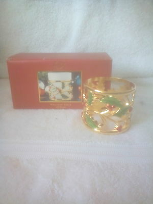Lenox Christmas holly  holiday Gold Votive  candle holder new in box