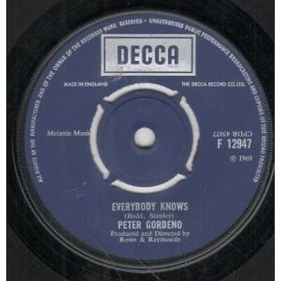 """PETER GORDENO Everybody Knows 7"""" VINYL UK Decca B/W Man And Wife Time (F12947)"""