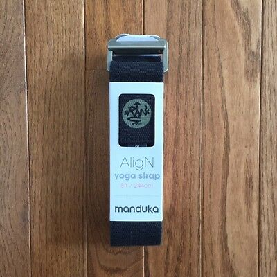 NEW Manduka AligN natural cotton yoga strap - Black 8 ft / 244 cm