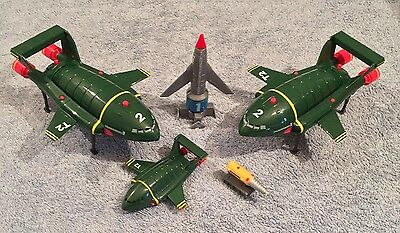 "Thunderbirds Vehicles T1 T2 Mole 7.5"" Vintage Toy Bundle 1990s Sounds"