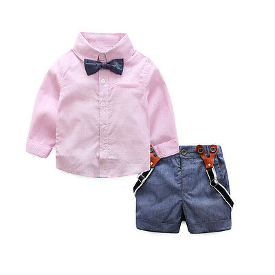 Gentleman Set School Wind Children Baby Boys T-shirts Tops+Pants Outfits Clothes