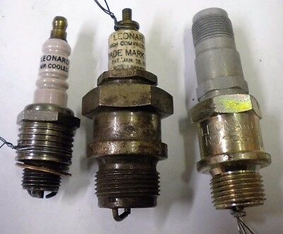 Three LEONARD Antique Spark Plugs