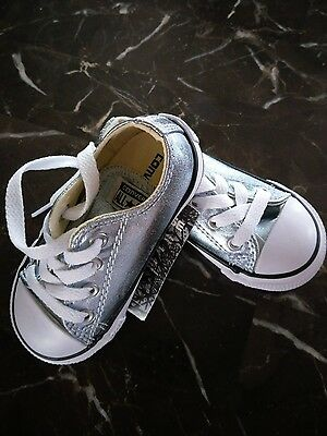 Converse All Star Blue Metallic Glacie Lace Up Sneaker Infant shoes size 6 NEW