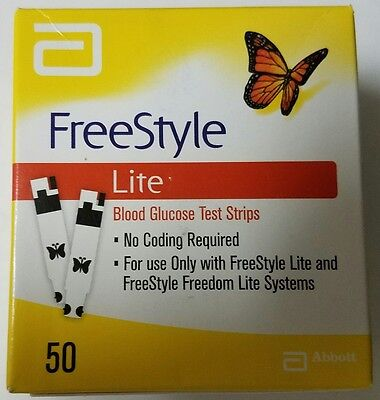 50 Freestyle Lite Glucose Test Strips Dinged Exp: 01/2020+ SHIPS FREE TODAY!
