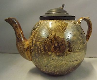 ANTIQUE EARLY C19th SLIPWARE? TEAPOT WTH PEWTER LID
