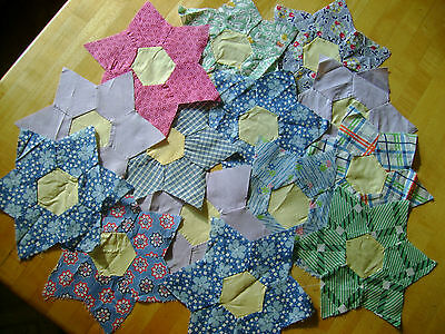 14 Vintage Star Shaped Cotton Quilt Blocks Hand Sewn