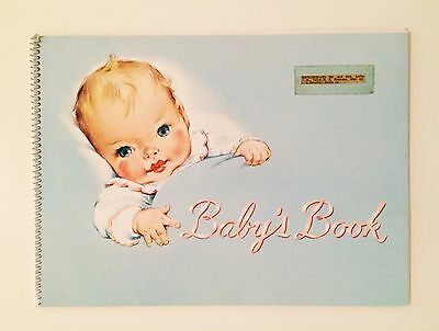 Vintage 1950s Baby Blue Cover Baby Memory Book Clean pages Adorable Graphics!