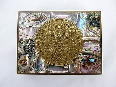 Vtg Taxco Mexico Mayan Calendar Mother of Pearl Abalone Cigarette Trinket Box
