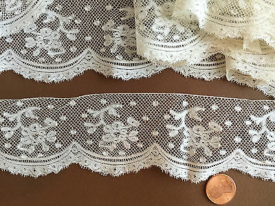 19th C. handmade floral Valenciennes bobbin lace, yardage SEWING CRAFT COSTUME