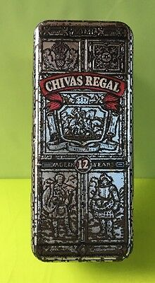 Chivas Regal Tin Box, EMPTY ~ Silver/Red ~Scotch Embossed Hinged Old