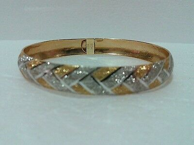 HOB 10K Solid Two Tone Yellow & White Gold Bracelet Bangle 7 inch