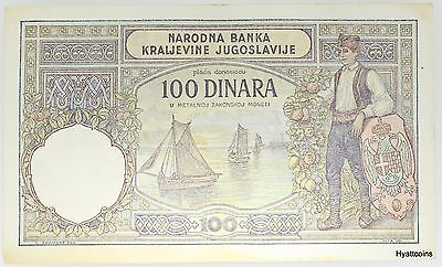 1929 Bank of Yugoslavia 100 Dinara Banknote Uncirculated