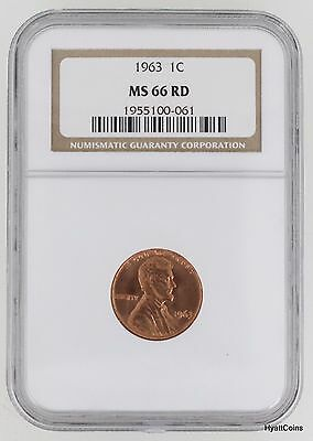 1963 Lincoln Memorial Cent 1C NGC MS66 RD Red