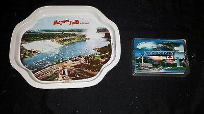 Vintage Niagara Falls collector tin plate and playing cards