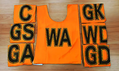 NETBALL BIBS FULL SET (Fluro Orange with Black Numbering) Set of 7