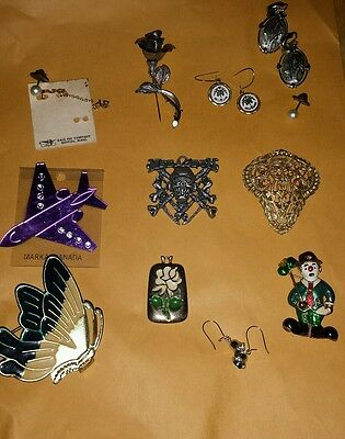 Lot of Costume Jewelry-Earrings Broutches Pins And Pendants