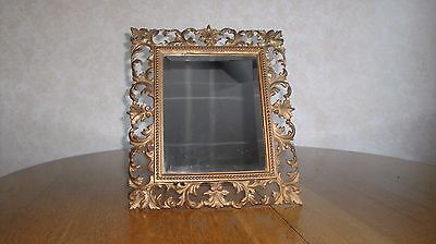 """Very Ornate Antique Cast Iron Framed 8"""" x 10"""" Mirror Great Picture Frame"""