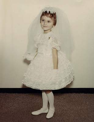 Vintage 1st communion photo little girl in lace dress