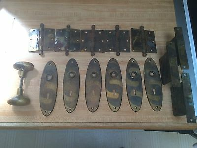 Vintage Door Hardware Lot- Brass Plates Knobs Latches Hinges
