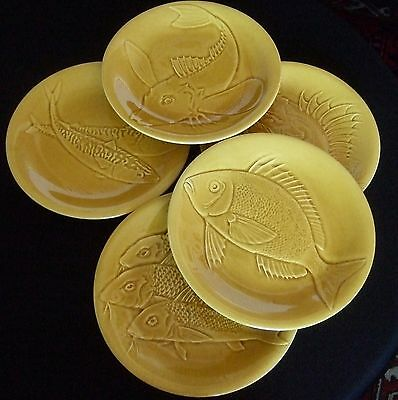 """9.75"""" FISH PLATE set FAIENCE D'ART France MAJOLICA Relief Ceramic Yellow x5"""