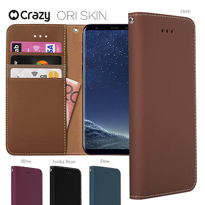 Crazy New Genuine Leather Wallet Case Flip Cover for Samsung Galaxy S8 Plus S7