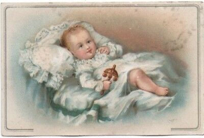 Baby with Antique Rattle Houghton Dutton Variety Store Adv Trade Card c1880