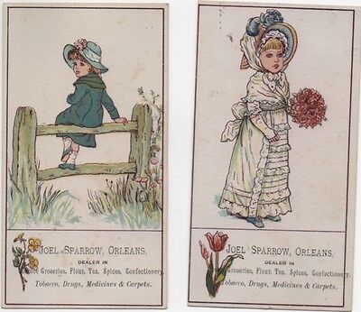 Joel Sparrow Orleans MA Kate Greenaway Image (2) Adv Trade Cards c1800s