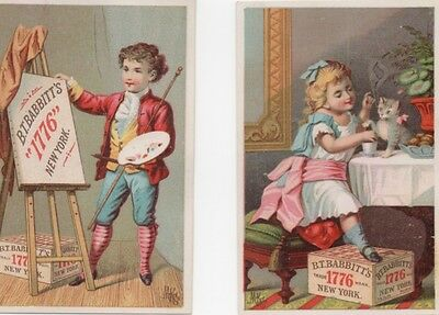 Girl w Kitten Boy Artist Babbitt's Soap (2) Adv Trade Cards c1800s