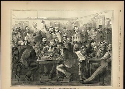Lager Beer Saloon New York gambling War in France 1870 antique engraved print