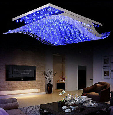 LED Remote Control Real K9 Clear Crystal Chandeliers Ceiling Fixture Lamps Light