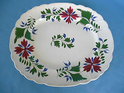 "c1840 Large 15 1/4"" EARLY ADAMS ROSE TYPE PLATTER pearlware Stick Spatter"
