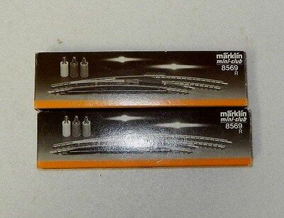 2 x Marklin Z Scale Right Hand Curved Points (Solenoid Equipped)