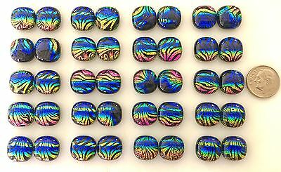 """1/2"""" DICHROIC Fused Art Glass Earring Cabochons Accent Tile 20 pr"""