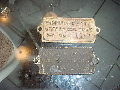 PROPERTY OF THE CITY OF NEW YORK CAR No.116 Brass Plaque subway trolly