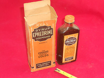 NOS Vintage 1930's Nyal Ephedrine Compound Bottle Box Medicine Medical