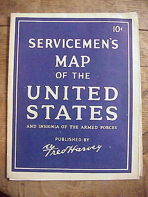 WWII SERVICEMEN'S MAP of the United States FRED HARVEY  from Marine vet's ESTATE