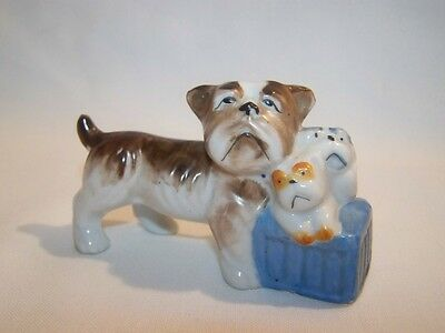 Adorable Vintage 1940's Bulldog With Puppies Figurine Occupied Japan 3.5''