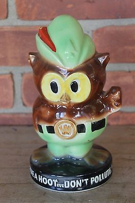 Rare! WOODSY OWL GIVE A HOOT DONT POLLUTE POTTERY BANK w-metal bottom