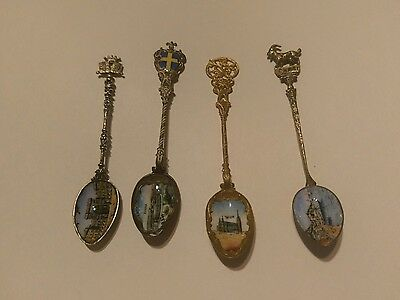 4 Antique Enamel Bowl Spoons Wien, Verona,Capri And? Silver Content?
