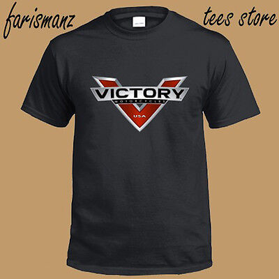 New Victory Motorcycle Logo Men's Black T-Shirt Size S to 3XL