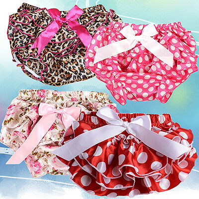 Baby Girls Infant Toddler Soft Panties Bloomers Ruffle Diaper Nappy Covers 0-3T