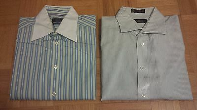Lot of TWO (2) ETON 100% Cotton Striped Dress Shirts Size 16 & 16.5