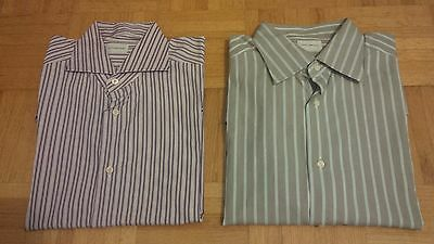Lot of TWO (2) Ermenegildo Zegna Cotton Striped Dress Shirts Size 16 & 16.5