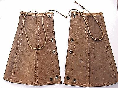 Antique Wwi Military Uniform Stiff Brown Laced Canvas Gators/spats/shin Guards