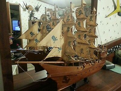 "Vintage Oak Handmade 28"" Tall 35"" Long Wooden Ship Model,original, Pirate Ship"