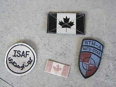 4 Original Canadian Army Used Afghanistan Insignia. Infrared patch ,Flag, Isaf