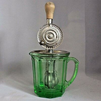 Antique Vntg 1916 MERRY WHIRL Egg Beater w Green Depression Glass MIXING PITCHER