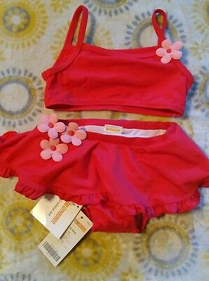 Gymboree girls 2 pc pink flower swimsuit size 6-12 months