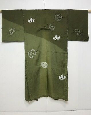 4011N10z330 Japanese Kimono Synthetic Men's JUBAN Moss green Shibori dyeing