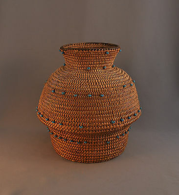 Rare Shaped Pima Olla Basket With Padre Turquoise Beads -
